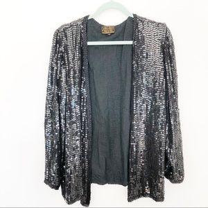 Vintage Black Silk Beaded Evening Blazer Jacket L